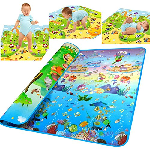 OZOY Waterproof Double Sided Baby Play Mat Child Activity Foam Floor Soft Kid Eductaional Toy Gift Gym Crawl Blanket Ocean Zoo Carpet- 120 x 180cm (1 pc)
