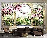 Yosot 3D Tapete Peach Blossom Landschaft Europäischen Garten Hintergrund Wohnzimmer Schlafzimmer Tv Wandbild Tapeten Für Wände 3D-300Cmx210Cm