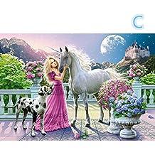 jiangfu 5d diamante pittura (Bellezza e cavallo) 40* 30cm, 5d pittura diamante diy ricamo pieno Piazza Diamante decorazioni per la casa regalo
