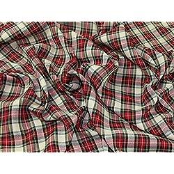 Tela de poliéster tartán a vestido Macmerry de cuadros escoceses Beige y rojo–por metro
