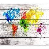 murando - Fototapete 350x256 cm - Vlies Tapete - Moderne Wanddeko - Design Tapete - Wandtapete - Wand Dekoration - Weltkarte Holz bunt farbflecken k-B-0008-a-a