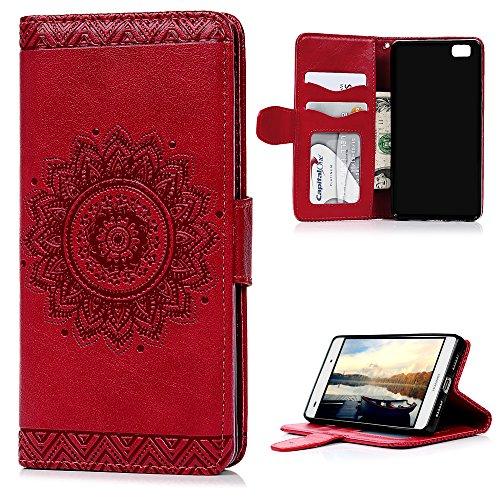 Huawei P8 Lite Custodia Flip (No per P8),YOKIRIN Custodia Libro per Huawei P8 Lite Case Cover PU Leather Sollievo con il Supporto,Chiusura Magnetica e Slot per Schede / Tasche per Carte di Credito - Disegno Girasole (Rosso)