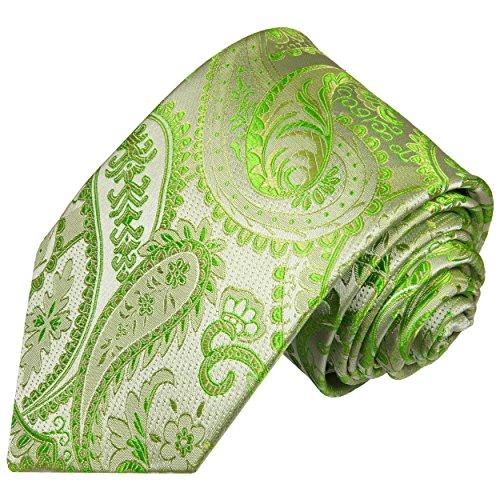 Paul Malone Cravate homme vert paisley 100% cravate en soie (longueur 165cm)