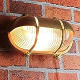 Außenwandlampe Messing Maritim Glasschirm Käfig IP64 Schiffslampe Außenleuchte Robust Hauswand Balkon - 4