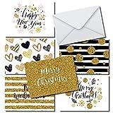 Moderne élégant Cartes De Noël En Kit 36cartes format A6, 36enveloppes Blanc, design moderne gris or pour Noël et nouvel an...