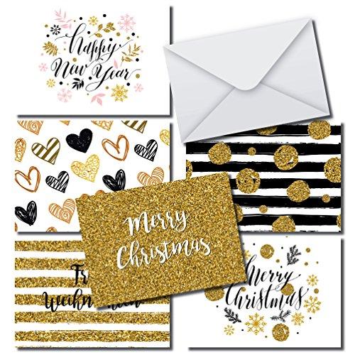 Moderne élégant Cartes De Noël En Kit 36cartes format A6, 36enveloppes Blanc, design moderne gris or pour Noël et nouvel an