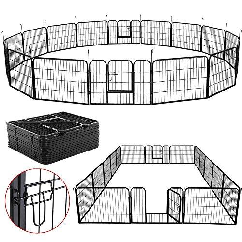 Yaheetech Welpenauslauf Metall Laufstall Zaun Gitter Welpen Hasen Kaninchen Freigehege 16 eckig mit 2 Tür 60 cm Hoch für draußen und Innen -