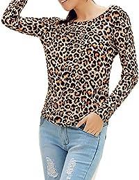 1a9015f2c0 Mujer Atractivas Camiseta Manga Larga - Moda Escotado por Detrás Camisa  Blusa Señora Halter Top Sexy