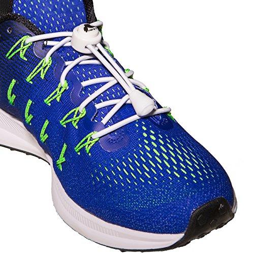 [3 Paar] Selbstblockierende Schnürsenkel für Sportschuhe, ohne Schnüren, für zahlreiche Sportarten: Fitness, Laufen, Wandern, Fußball, Tennis usw. - Lebenslange Garantie All White