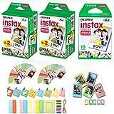 The Tech Expert Fuji Instax Mini Instant Film 50 Shots with Bonus 40 Decorative Skin Stick-on Stickers for Fuji Instax Mini 8 and SP-1
