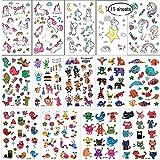 SouthStar Tatuajes Temporales para Niños Niñas, 15 Hojas Dibujos Animados Animales y Conjunto de Tatuajes de Unicornio piñata Niños Infantiles Fiesta de Cumpleaños Regalo Bolsas Relleno
