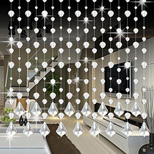 Kristallglas Perlen Vorhang Hochzeit Dekor Upxiang Luxus Bubble Kristall Perlen Vorhang Mit Anhänger Wohnzimmer Schlafzimmer Fenster Tür (E) (Fenster Vorhang Mit Perlen)