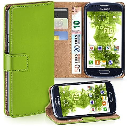 Samsung Galaxy S3 Mini Hülle Grün mit Karten-Fach [OneFlow 360° Book Klapp-Hülle] Handytasche Kunst-Leder Handyhülle für Samsung Galaxy S3 Mini S III Case Flip Cover Schutzhülle