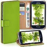 Samsung Galaxy S3 Mini Hülle Grün mit Karten-Fach [OneFlow 360° Book Klapp-Hülle] Handytasche Kunst-Leder Handyhülle für Samsung Galaxy S3 Mini S III Case Flip Cover Schutzhülle Tasche