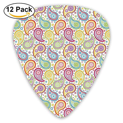 Colored Patterned Backgrounded With Paisley Flowers And Circles Guitar Picks 12/Pack Set Multi Color Patterned