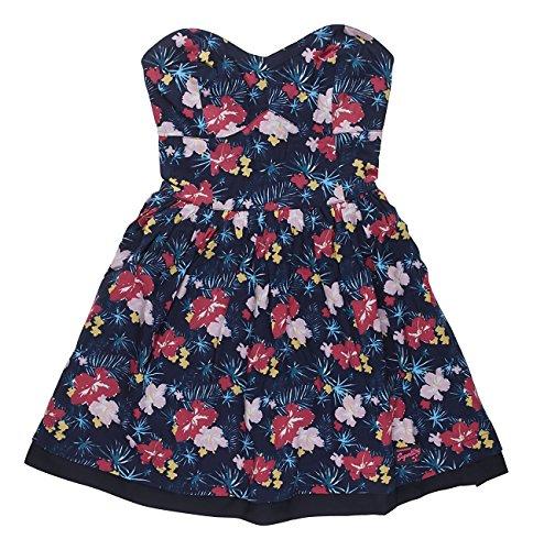 Superdry 50s Tropical Print Dress, Vestito Donna Hawaiian Tropics Navy VFM