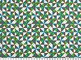 Baumwolldruck, kleine Dreiecke, grün-blau-braun, 142cm