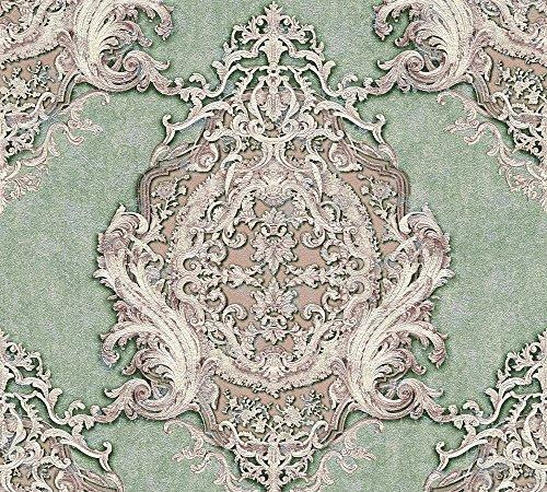 Architects Paper Vliestapete Luxury Classics Tapete mit Ornamenten barock 10,05 m x 0,53 m grün metallic lila Made in Germany 343725 34372-5
