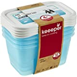 keeeper Food Containers, Set of 4, Freezable, Labelled Lid with Rewritable Surface, 4 x 750 ml, 15.5x10.5x8.5 cm, Mia Polar,