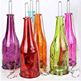 #9: LAKE26 | Pack of 2 | Multi Color Glass Hanging Tea-Light Holders Bottles, Size: 9 inch x 2.5 inch, Reusable Tea Light Holder/Comes with a Hanging Chain