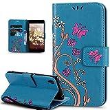 Coque Sony Xperia Z3,Etui Sony Xperia Z3,Peint coloré Embosser Papillon fleur Housse Cuir PU Etui Housse en Cuir Portefeuille de Protection Flip Case Portefeuille Etui Coque pour Sony Xperia Z3,Bleu