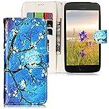 CLM-Tech Hülle für Motorola Moto G5 Plus Wallet Case Tasche Kunstleder - Handy Schutzhülle mit Standfunktion und Kartenfach Flip Cover -Bookstyle Flipcase Baum Ast Blüten Muster blau schwarz mehrfarbig