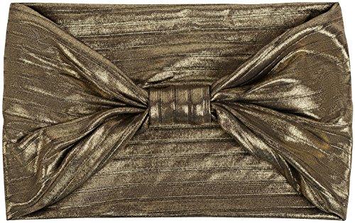 styleBREAKER Glitzer Haarband mit Schleife in Metallic Streifen Optik, Stirnband, Headband, Damen 04026017, Farbe:Schwarz / Gold