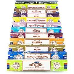 Satya - Set de inciensos de 12 x 15 g que incluye Nag Champa, Super Hit, Om Shanti, Oodh, Positive Vibes, Namaste, Champa, Opium, Reiki, Spiritual Healing, Karma y Traditional Ayurveda, 1 paquete con modelos aleatorios