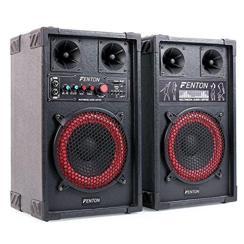 "Fenton SPB-8 - PA Lautsprecher, Aktivboxen Set, 400 Watt max, 20 cm (8"")-Subwoofer, Bluetooth, USB-Port, SD-Slot, MP3-fähig, schwarz"