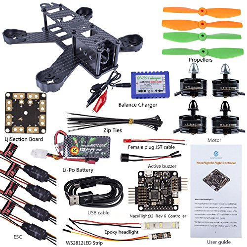 Preisvergleich Produktbild SunFounder SF210 210mm DIY Carbon Fiber FPV 4 Axis Racing Quadcopter Kit (Nazeflight32, MT2204 Motor 12A ESC, 5045 Props) EMAX