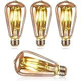 DASIAUTOEM Ampoule LED E27 Vintage, Ampoule LED Edison ST64 4W Retro Edison Ampoule Vintage Décorative Lampe Nostalgiques Ant