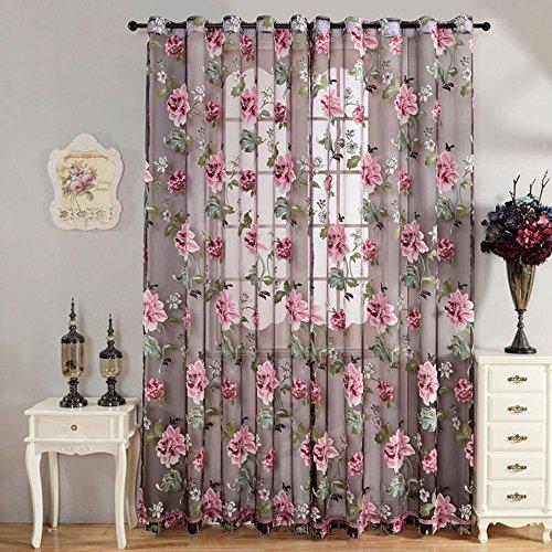 1 pc tende con fiori peonia tenda voile per soggiorno, camera da letto (100cmx200cm)