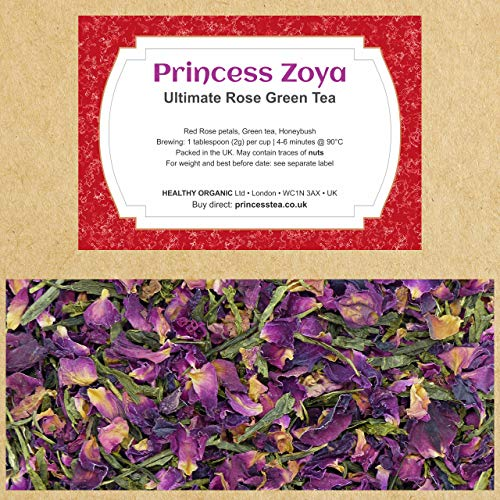 Red Rose Green Tea 100g, Low Caffeine Blend of Green Tea, Rose Petals and Honeybush, Hand Packed in The UK, 100% Natural Large Leaves, Resealable Bag
