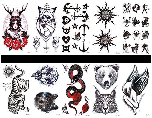 Grasshine 10st Tattoo Tier Schlange gefälschte Tattoos, die wirklich in einem Paket, einschließlich Tier Totem, Tiger, Wolf Kopf, Frauen, Rosen, Katze, Totem, Sonne, Tiger Kopf, Schlange, Engel, etc. - Engel Tattoos Frauen