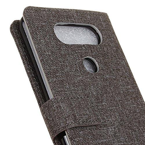 Retro Jeans Stoff Textur Bookstyle Folio Stand Case mit Kartensteckplätzen für LG Q8 (V20 Mini) ( Color : Red ) Gray