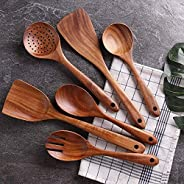 PIXLINQ Wooden Cooking Spoon Set with Spatulas for Non-Stick Kitchen Utensil Cooking Set Non Scratch Natural T