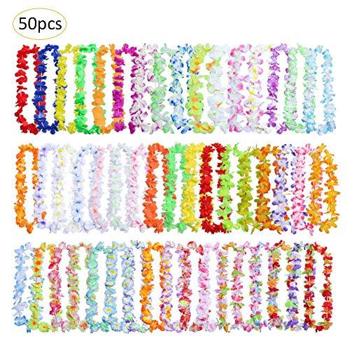 (SH-Flying Hawaiian Party Flower Leis Kränze - 50 Stück Hawaiian Party Flower Leis Kränze Halskette Stirnband Armband für Kinder & Erwachsene)