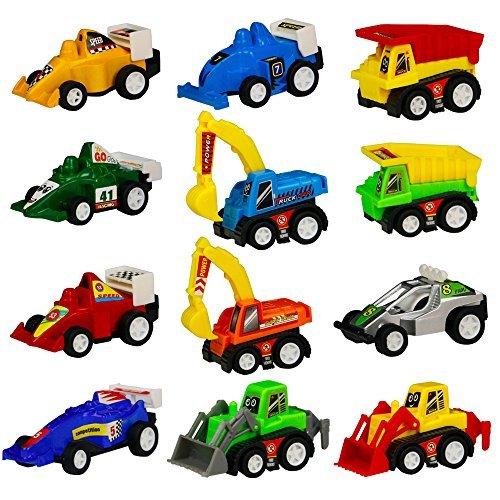 Mini Spielzeugautos Fahrzeuge Modell Lkw Bagger Bulldozer Rennwagen Spielen für Kinder, 12 Pcs