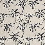 Fabulous Fabrics Dekostoff Canvas Palmen - Natur/dunkelgrau