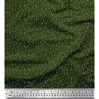 Soimoi Verde gasa de viscosa Tela Dot y floral tela de camisa tela estampada de por