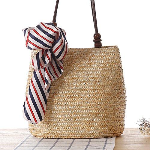 Mefly Im Europäischen Stil Single Schultertasche Tasche Strand Woven Ballen Stroh Primary colors