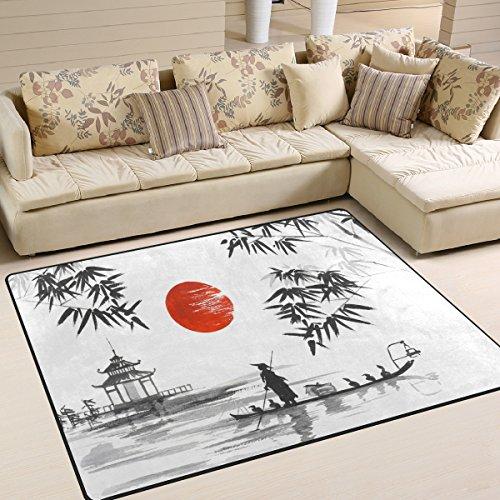 Use7 Alfombra Tradicional Japonesa de bambú de montaña, para salón, Dormitorio, Tela, 160cm x 122cm5.3...