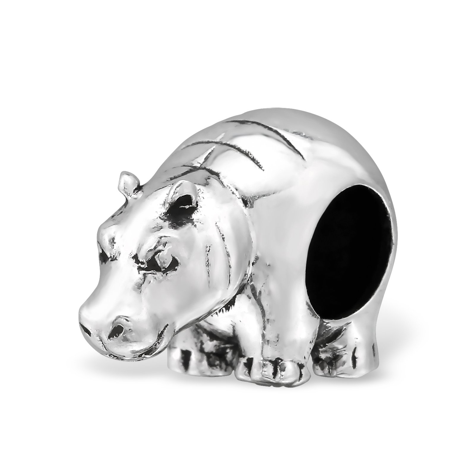 Silvadore – Silver Bead – Hippopotamus Hippo Animal Zoo Farm Creature Wild – 925 Sterling Charm 3D Slide On 735658 – Fits Pandora European Bracelet – Free Gift Boxed