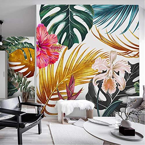 hhlwl Moderne Papier Peint Photo 3D Aquarelle Doré Plantes Feuilles Fleurs Mur Peinture Salon Salle À Manger Toile Imperméable Peintures Murales-120cmx100cm