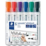 Staedtler 351 WP6 - Rotuladores para pizarra blanca Lumocolor, inodoro, secado rápido y recargable, paquete de 6 colores Surt