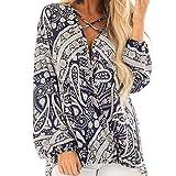 Zegeey Damen Frauen Vintage Tunika Strandkleid Minikleid Vintage Bohemian Kleider Sommerkleid Tunikakleid Bluse Tief V-Ausschnitt Clubwear Crop Top (Blau,M)