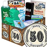 50. Geburtstag | Ostpaket für Männer | mit Badusan, Florena Creme und mehr | INKL Aufkleber - 50. Geburtstag