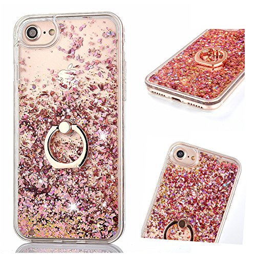 RO Hülle für iPhone 6 Plus / iPhone 6S Plus, Handyhülle Case Hülle Glitzer Flüssig Transparent Silikon Cover mit Ring Halterung Ständer für iPhone 6 Plus/iPhone 6S Plus(Rose Gold) ()