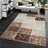 Teppich Günstig Karo Design Modern Wohnzimmerteppich Braun Beige Creme Top Preis, Größe:80x150 cm