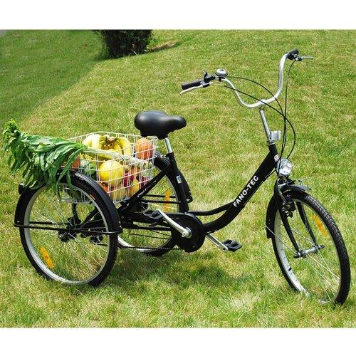 """ZNL FANO-TEC Dreirad Für Erwachsene Lastenfahrrad Erwachsenendreirad Seniorenrad 24\"""" 6-Gang-Schaltung Shimano FT-7009 Schwarz"""